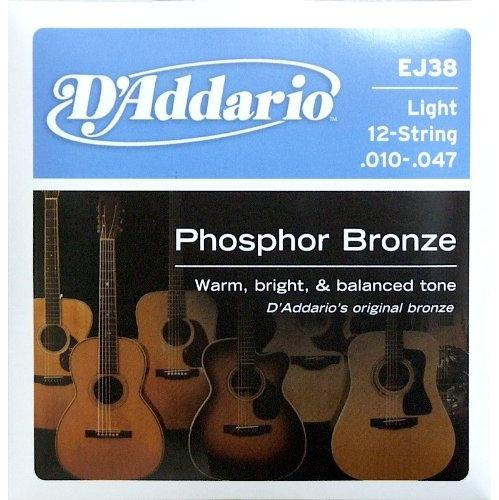 D'Addario EJ38 Acoustic Guitar Strings, Phosphor Bronze, 12-String, Light (.010-.047)