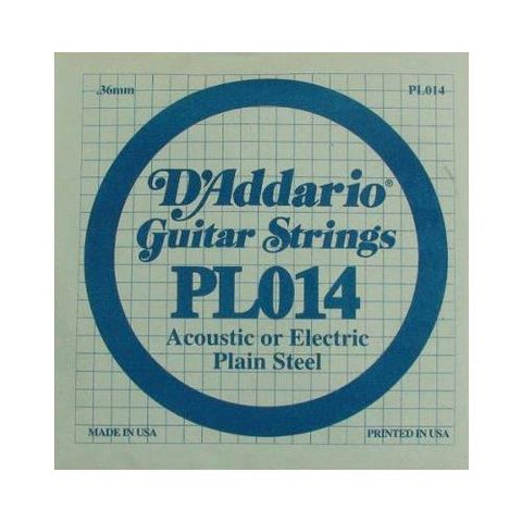 D'Addario PL014 Plain Steel Guitar Single String, .014