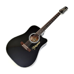 Takamine EF381DX 12-String Acoustic Electric Guitar w/Case, Black