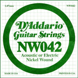 D'Addario NW042 Nickel Wound Electric Guitar Single String, .042