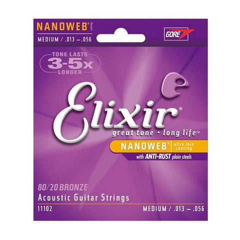 Elixir 11102 Strings 80/20 Bronze Acoustic Guitar Strings w NANOWEB Coating, Medium