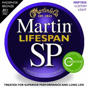 Martin 7050 SP Lifespan Phosphor Bronze Acoustic Guitar Strings, Custom Light