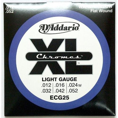 D'Addario ECG25 Chromes Flat Wound Electric Guitar Strings, Light .012-.052