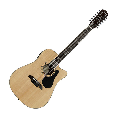 Alvarez AD60-12CE Artist Series Dreadnought 12-String Acoustic-Electric Guitar, Natural Gloss Finish