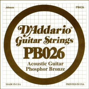 D'Addario PB026 Phosphor Bronze Wound Acoustic Guitar Single String, .026