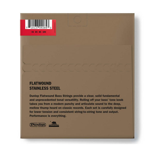 Dunlop DBFS45105 Stainless Steel Flatwound Bass Strings, 45-105