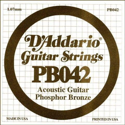 D'Addario PB042 Phosphor Bronze Wound Acoustic Guitar Single String, .042