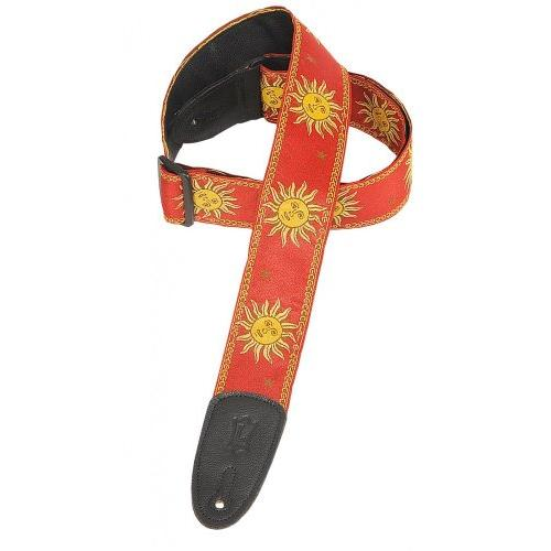 Levy's Polyester/Vinyl Guitar Strap, Sun Yellow/Red
