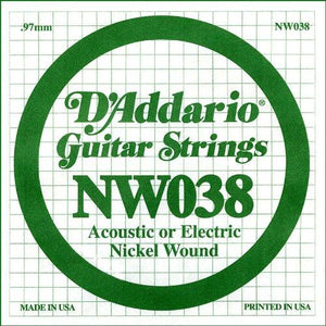 D'Addario NW038 Nickel Wound Electric Guitar Single String, .038