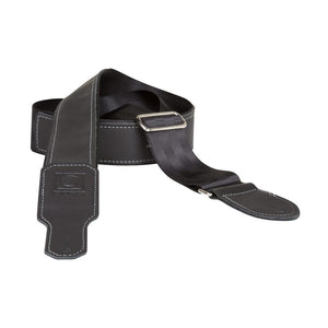 "Boss BSH-20-BLK 2"" Guitar Strap Hybrid BlkSeatbelt/Blk Leather"