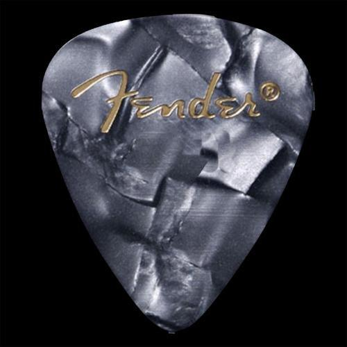 Fender 351 Premium Guitar Picks, 12 Pack, Black Moto, Thin