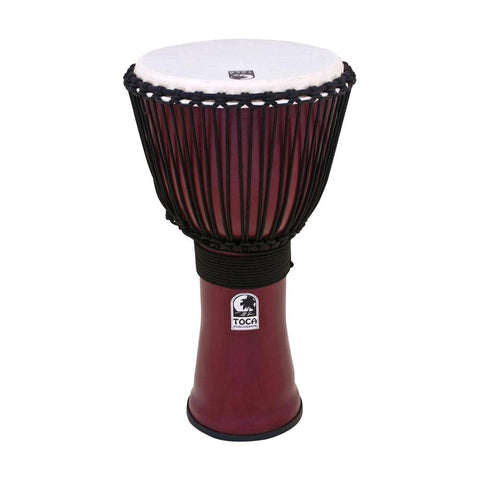 Toca TF2DJ-12R Freestyle II Rope Tuned 12-Inch Djembe, Dark Red Finish