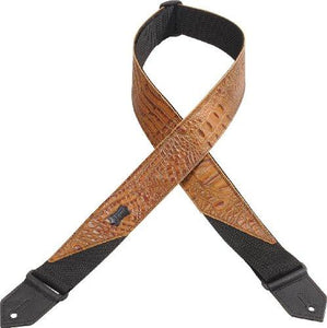 "Levy's 2"" Leather Guitar Strap, Imitation Crocodile"