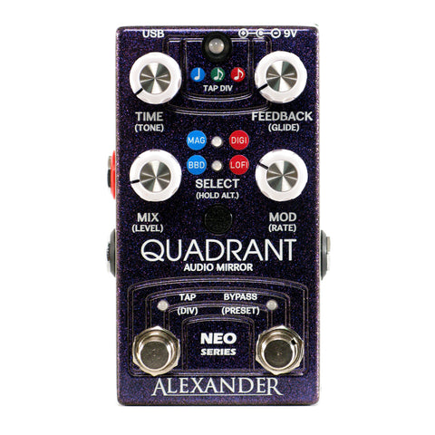 Alexander Pedals Quadrant Audio Mirror Delay, Grape Soda Sparkle (Gear Hero Exclusive)