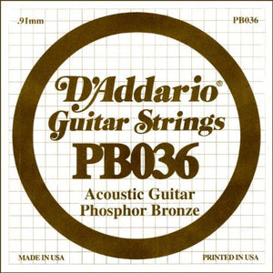 D'Addario PB036 Phosphor Bronze Wound Acoustic Guitar Single String, .036