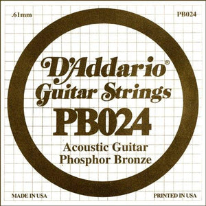 D'Addario PB024 Phosphor Bronze Wound Acoustic Guitar Single String, .024