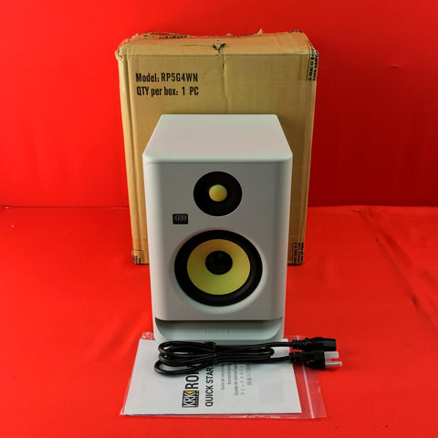 "[USED] KRK RP5G4WN ROKIT 5 Professional Bi-Amp 5"" Powered Studio Monitor, White"