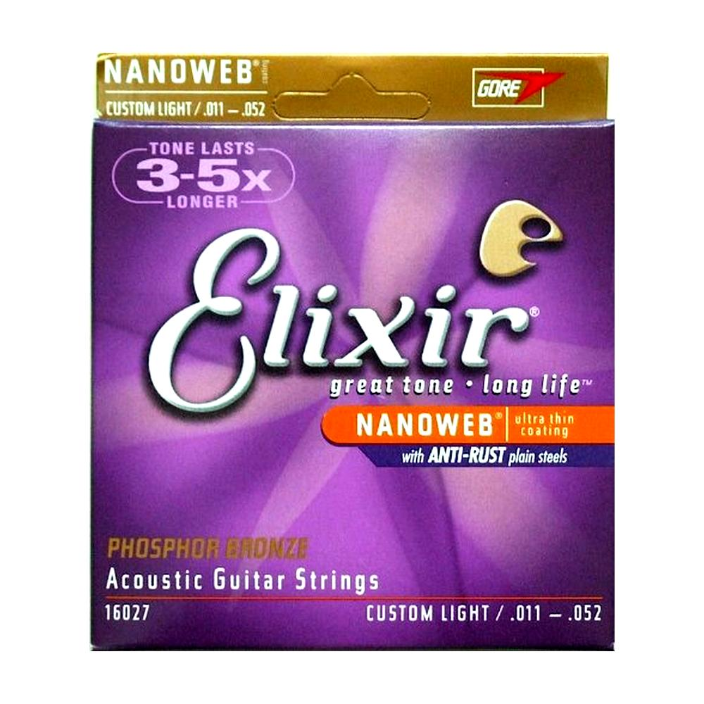 Elixir 16027 Acoustic Strings Phosphor Bronze Nanoweb Coating, 6-String, Custom Light