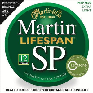 Martin 7600 SP Lifespan Phosphor Bronze Acoustic Guitar Strings, Extra Light