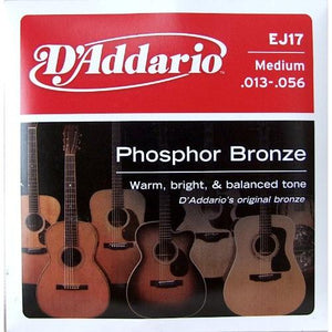 D'Addario EJ17 Phosphor Bronze Acoustic Guitar Strings, Medium .013-.056