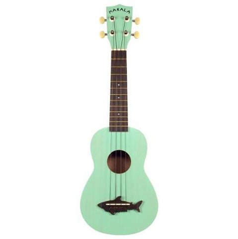 Makala MK-SS-GRN Shark Bridge Soprano Ukulele with Vintage Satin Finish - Surf Green
