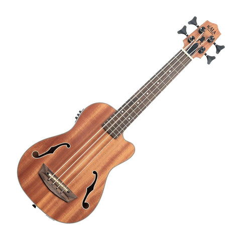 Kala UBASS-JYMN-FS Journeyman Acoustic-Electric Uke-Bass With F-Holes, Natural Satin