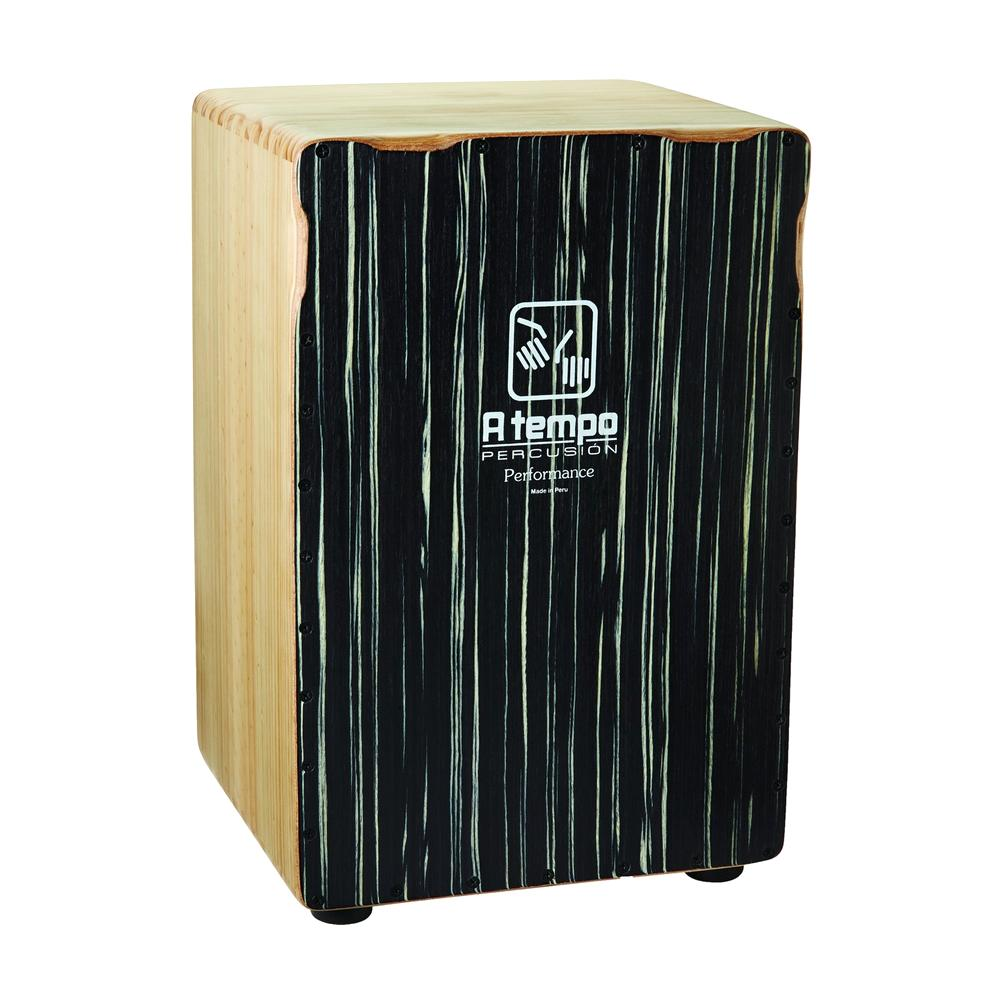 A Tempo Percussion Performance Series Cajon w/Gig Bag, Black Stripe