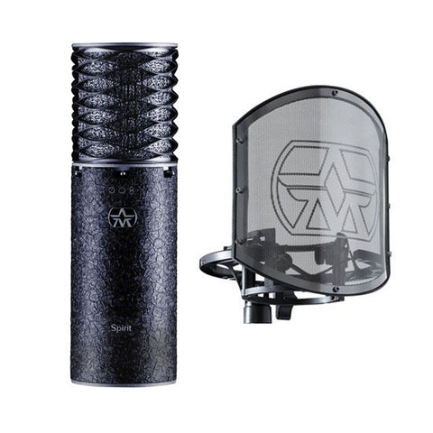 Aston Spirit Large Diaphragm Multi-Pattern Condenser Microphone and Swiftshield Bundle, Black (Limited Edition)