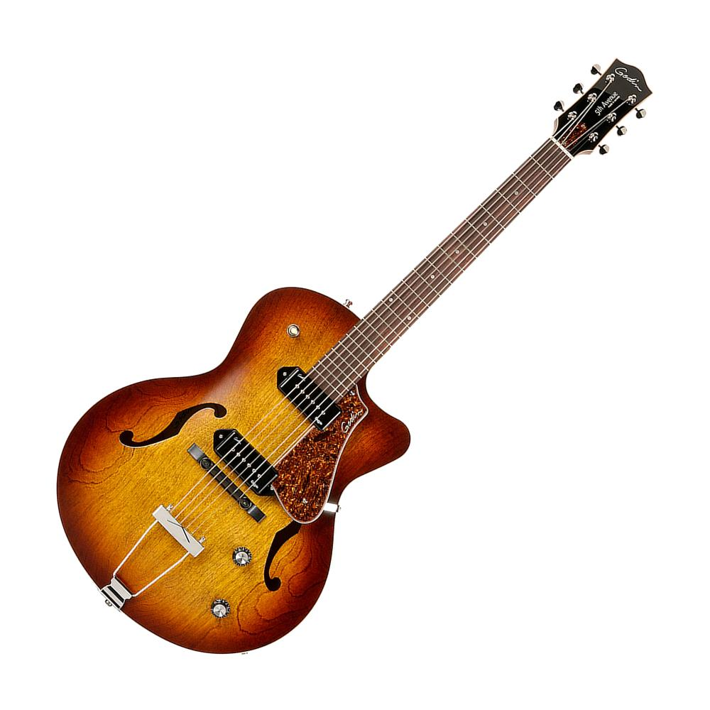 Godin 5th Avenue Kingpin II CW Semi Hollow Electric Guitar, Cognac Burst