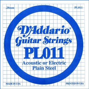 D'Addario PL011 Plain Steel Guitar Single String, .011