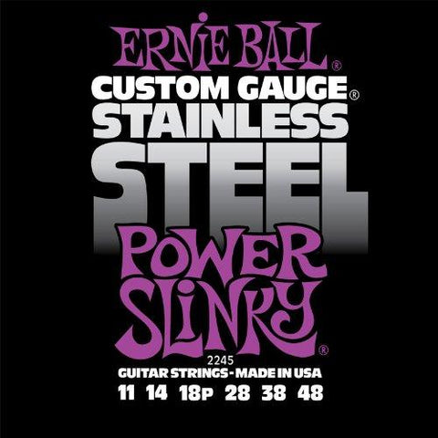 Ernie Ball 2245 Stainless Steel Power Slinky Set, .011 - .048