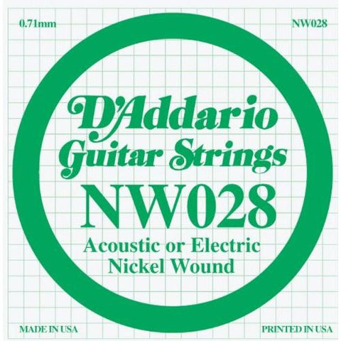 D'Addario NW028 Nickel Wound Electric Guitar Single String, .028