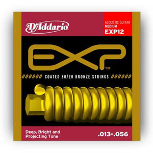 D'Addario EXP12 Coated Acoustic Guitar Strings, 80/20 Medium