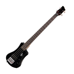 Hofner HCT-SHB-BK-O Shorty Electric Travel Bass Guitar with Gig Bag, Black