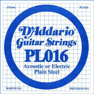 D'Addario PL016 Plain Steel Guitar Single String, .016