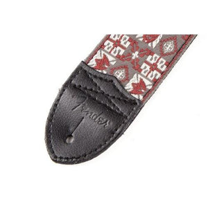 Fender 2-Inch Hootenanny Woven Strap, Red/Grey