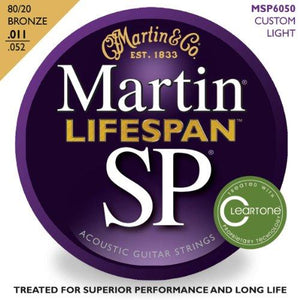 Martin 6050 SP Lifespan 80/20 Bronze Acoustic Guitar Strings, 11-52, Custom Light