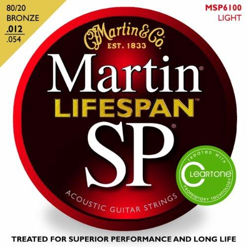 Martin 6100 SP Lifespan 80/20 Bronze Acoustic Guitar Strings, Light