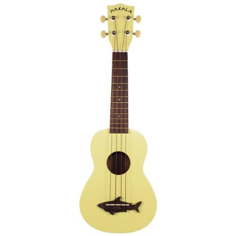 Makala MK-SS-YLW Shark Bridge Soprano Ukulele with Vintage Satin Finish - Yellow Coral