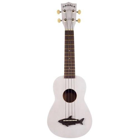 Makala MK-SS-WHT Shark Bridge Soprano Ukulele with Vintage Satin Finish - Great White