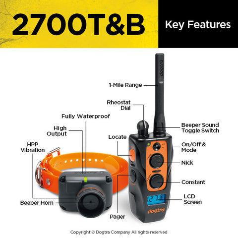 Dogtra 2700t Amp B 1 Mile Training And Beeper Collar System