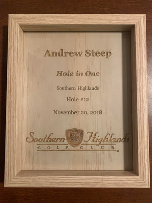 Custom Engraved Hole in One Framed Plaques