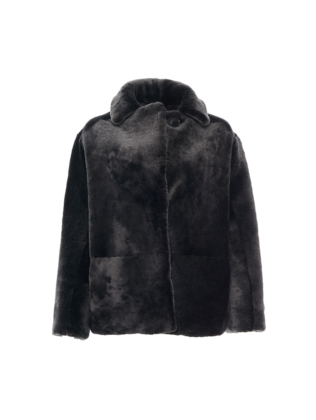 COLLARED SHEARLING JACKET, CHARCOAL<br> PRE-ORDER