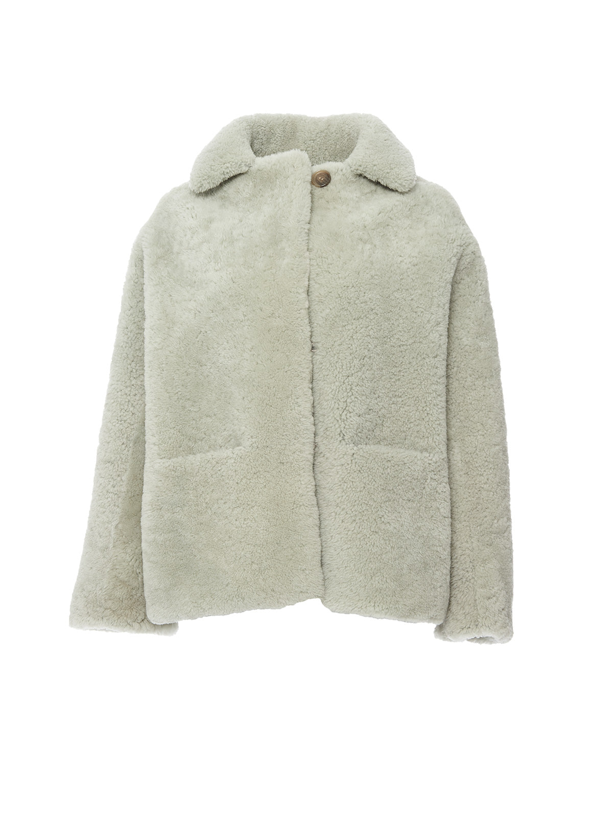 COLLARED SHEARLING JACKET, GLASS<br> PRE-ORDER