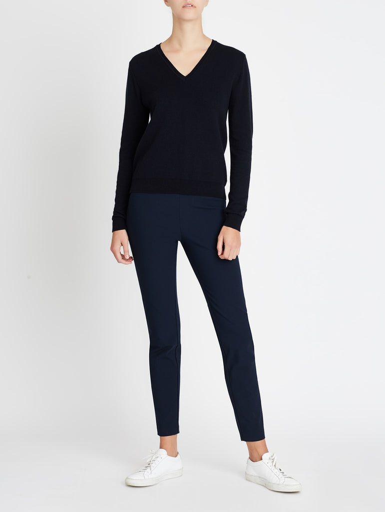 COTTON CASHMERE V-NECK, NAVY
