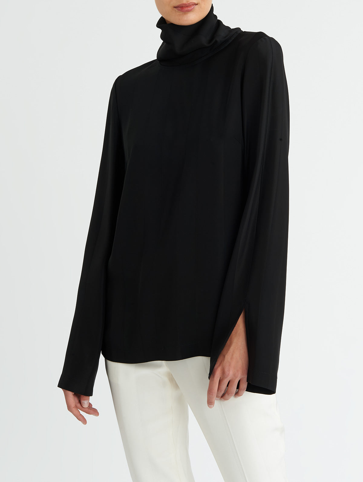 STRIPED FUNNEL NECK TOP, BLACK<br> PRE-ORDER