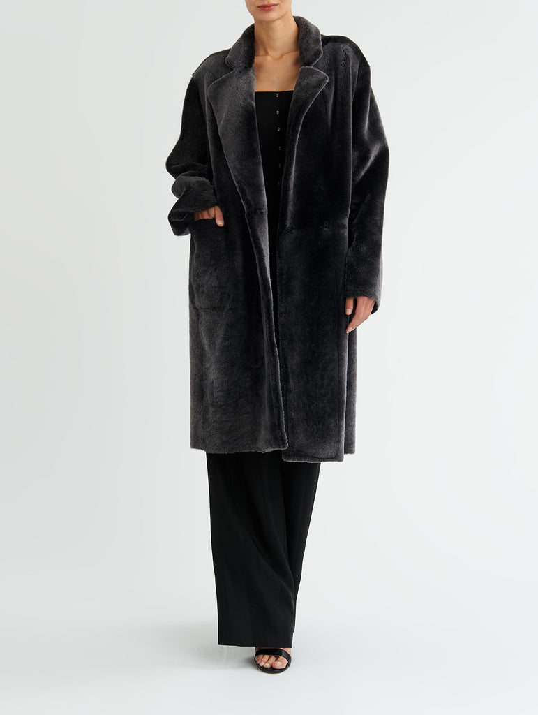 LAPEL SHEARLING COAT, CHARCOAL<br> PRE-ORDER