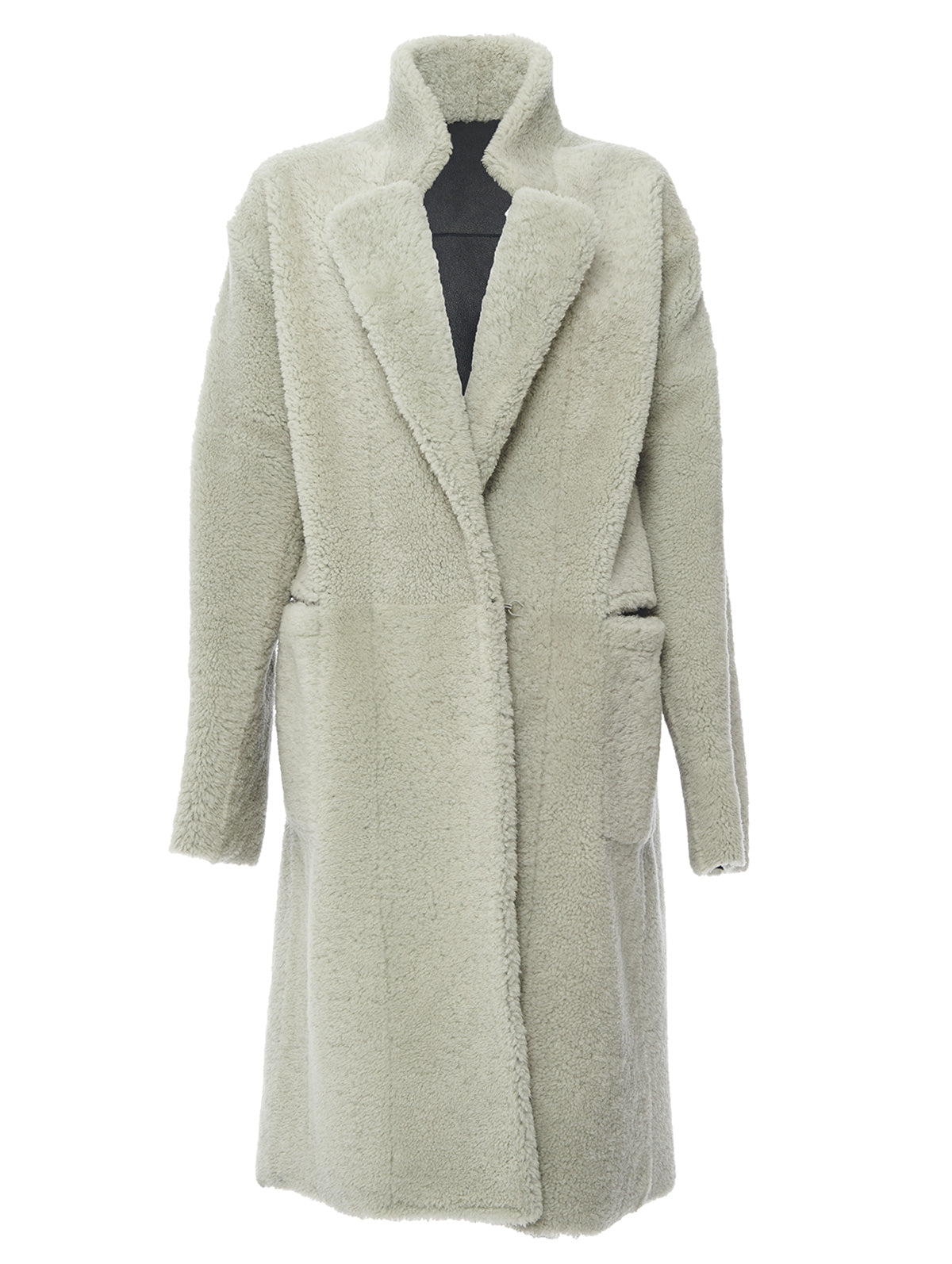 LAPEL SHEARLING COAT, GLASS<br> PRE-ORDER