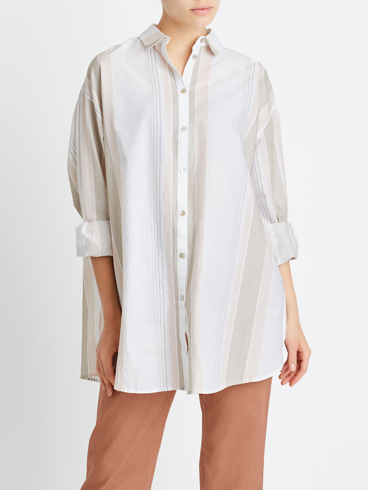 OVERSIZED BUTTON DOWN, STRIPED MULTI