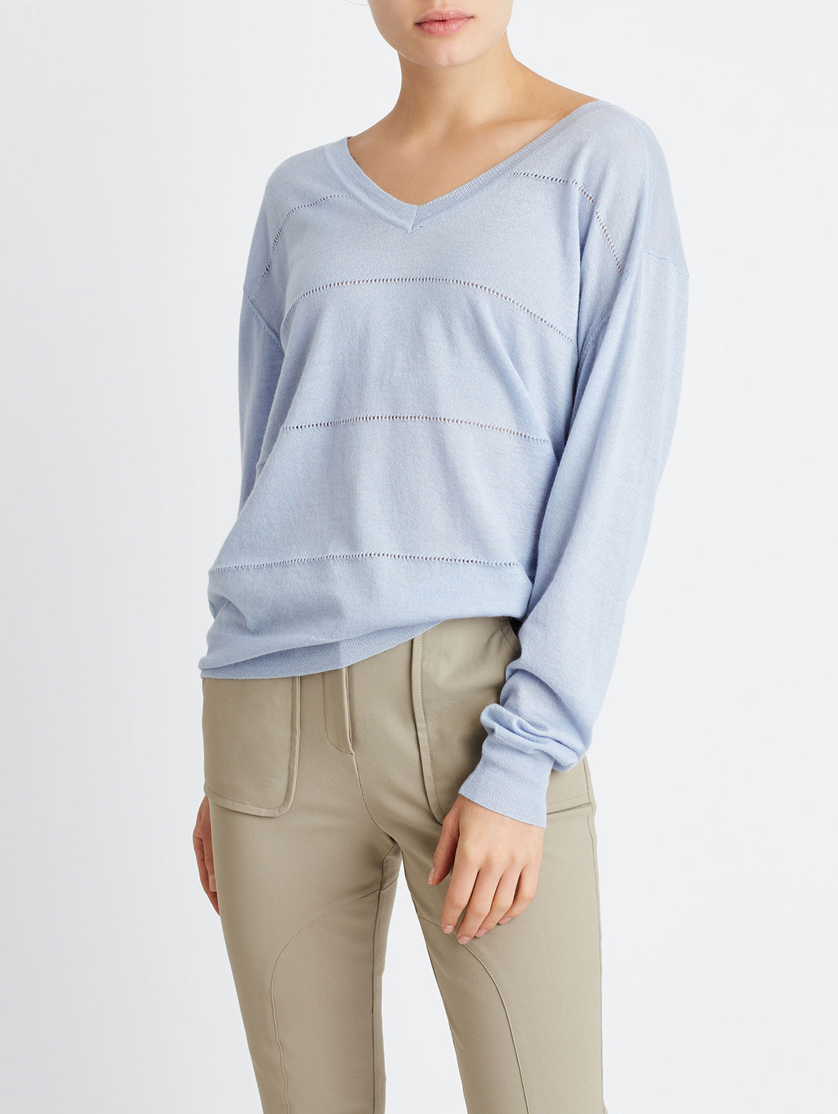 OVERSIZED POINTELLE V-NECK, LIGHT BLUE